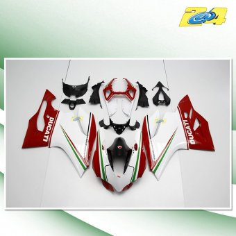 Ducati Panigale 1199 2012-2014 Carénage Complet ABS Tricolore, Vert, Blanc, Rouge