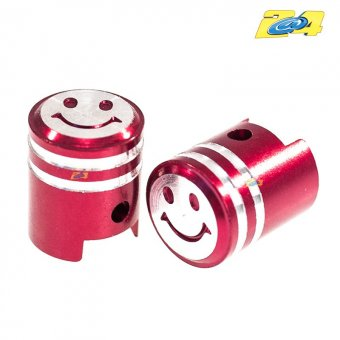 Bouchon De Valve Piston Smiley Rouges (paire)