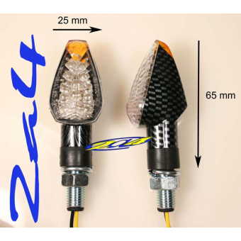 2 Clignotants adaptables à LED E115 Carbone - Homologué
