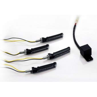 Pack 4 Clignotants adaptables a LED E137 Noir + Centrale 2 broches