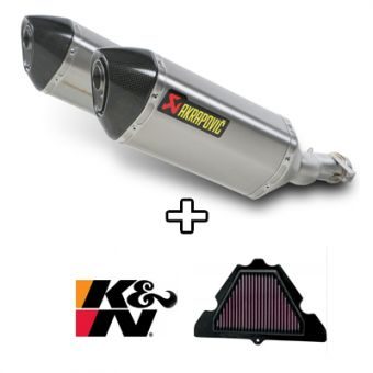 Filtre K&N + S-K10SO6-HZT Silencieux Slip-On Titane Akrapovic Z 1000 SX 2010-2013 Homologation EC