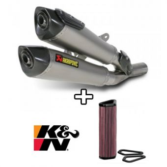 Filtre K&N + S-D12SO2-HXT Silencieux Slip-On Titane Akrapovic Diavel 2011-2016 Homologation EC