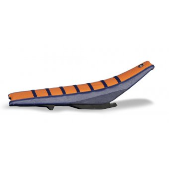 Ktm Exc 2011-2015 Housse De Selle Flu Designs Pro Rib Prs Kevlar Bleu/Orange/Bleu