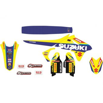 Suzuki Rm 125 2001-2017 Kit Déco + Housse Selle Blackbird Team Suzuki World Mxgp 2017