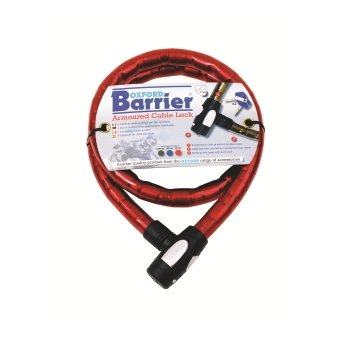 Antivol Oxford Cable Barrier maillons 10 mm Rouge 1,5 m X 25 mm