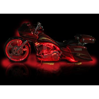 Kit Led Moto Telecommande  Stage 2 Eclairage Rouge