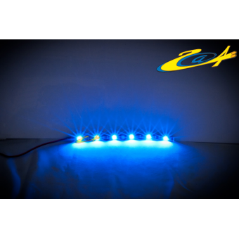 Barrette 6 LED High Power Eclairage Bleu base noire 20 cm