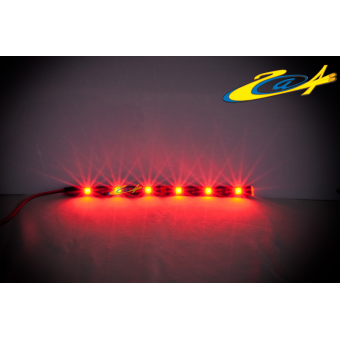 Barrette 6 LED High Power Eclairage Rouge base noire 20 cm