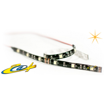 Barrette 12 LED High Power Eclairage Orange base noire 30 cm (paire)