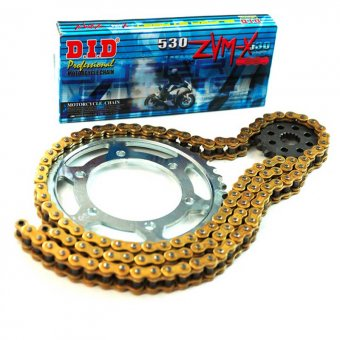 Kit Chaine DID X-ring VX Gold & Black acier Aprilia Tuareg 125 Wind 1989-1992