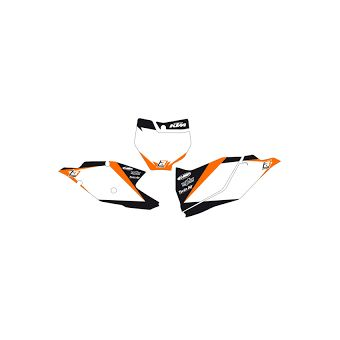Ktm Sx / Sx-F 125 &+ 2007-2010 Fond de Plaque Blackbird Graphic Blanc / Orange