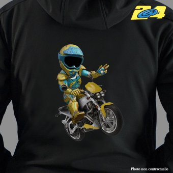 Sweat ZIP à capuche 2A4 Salut motard homme double impression